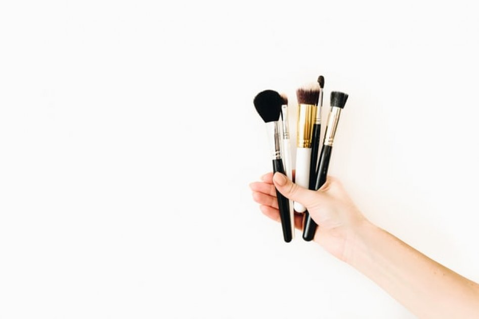 Various professional makeup brushes